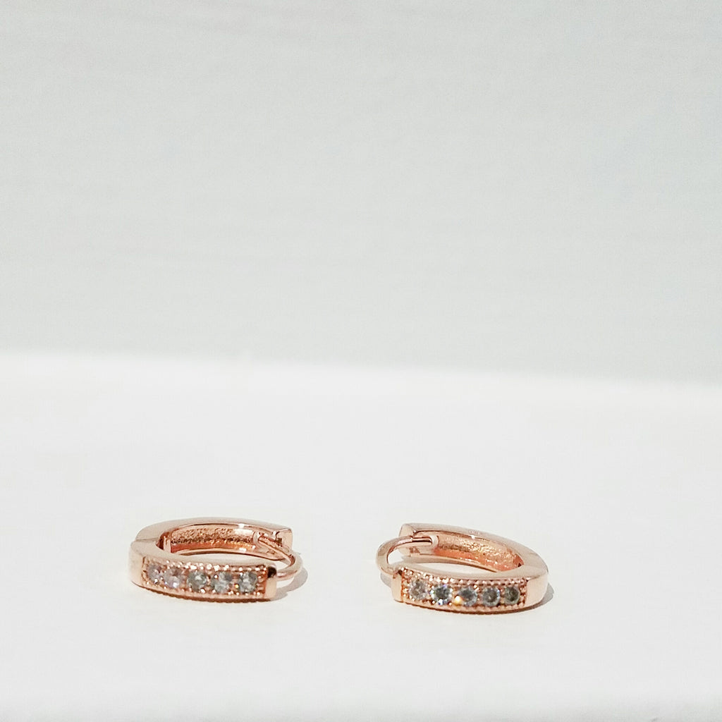 Small 1.2 CM Half Pave Encrusted Huggie Hoops-Rose Gold