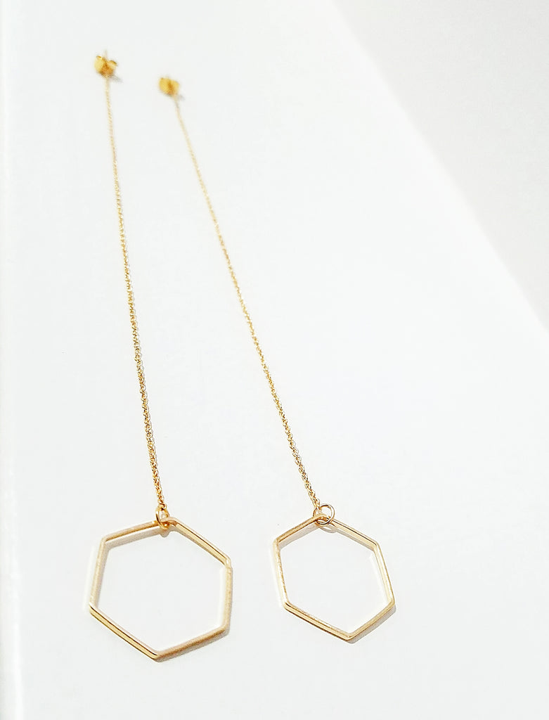 Geometric Threader Hexagon Earrings
