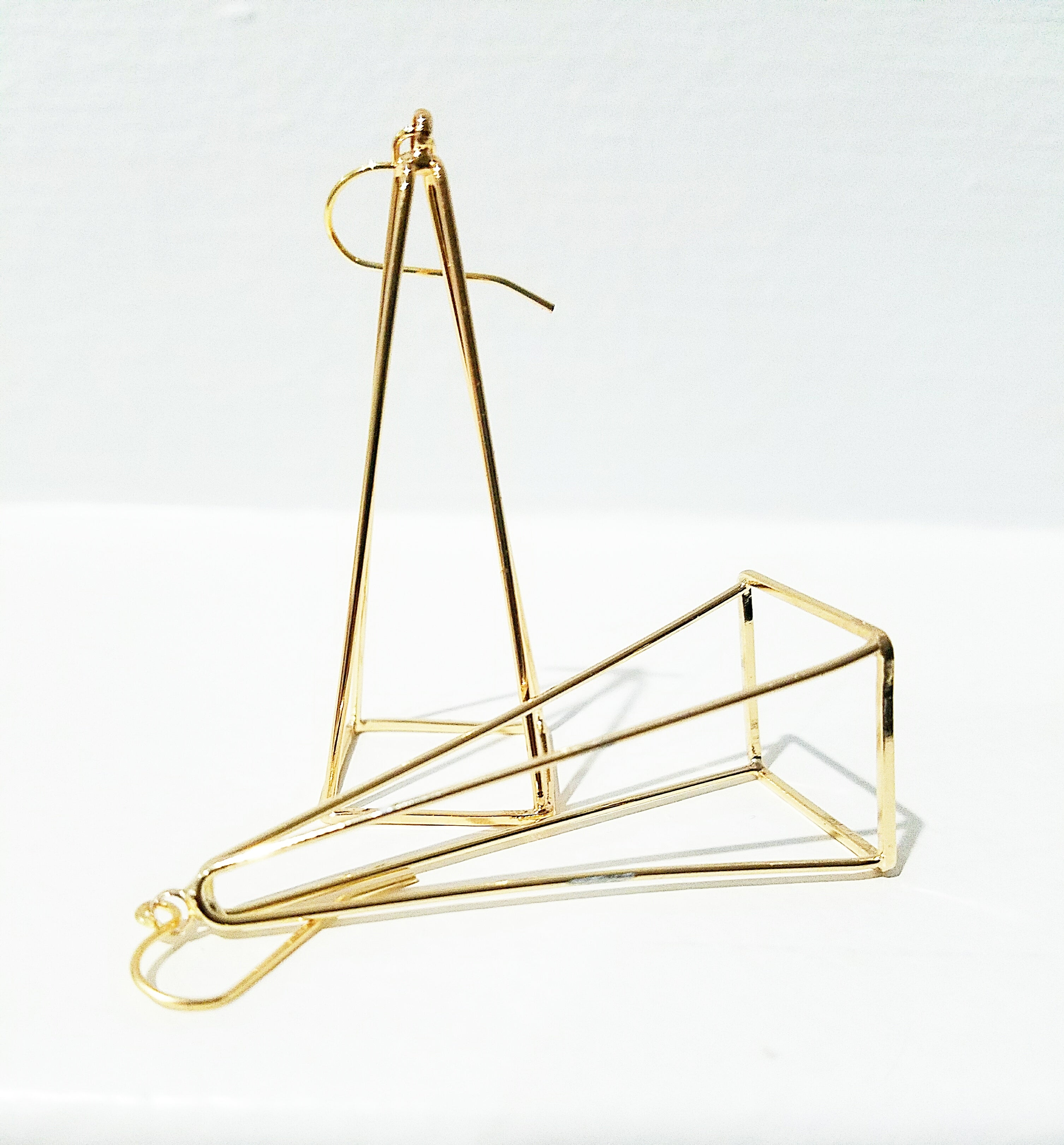 14 K Gold Geometric 3D Long Earrings