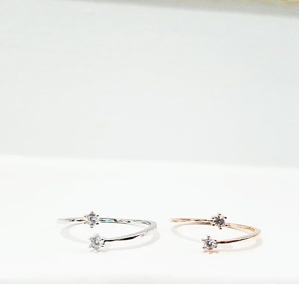 Small Stone Open Adjustable Ring