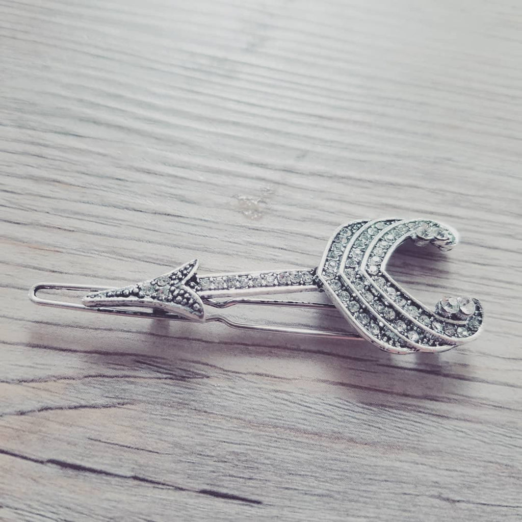 Silver Vintage Crystal Hairpin