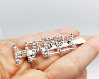 Happy Rhinestone Hair Pin