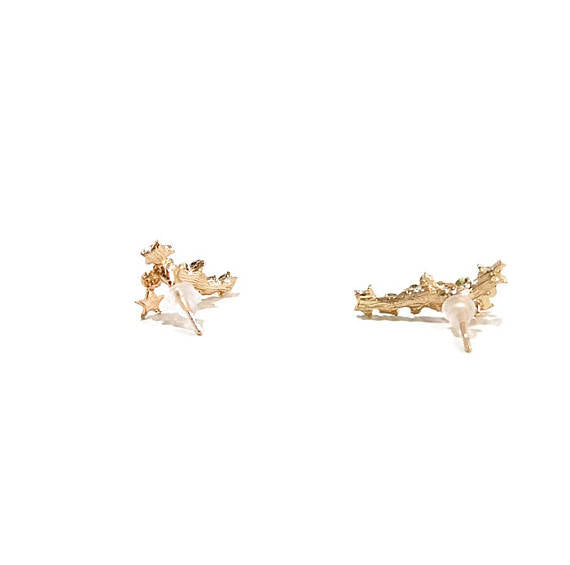 14 K Gold Pave Star Cluster w/ Tiny Star Charm Post Climbers