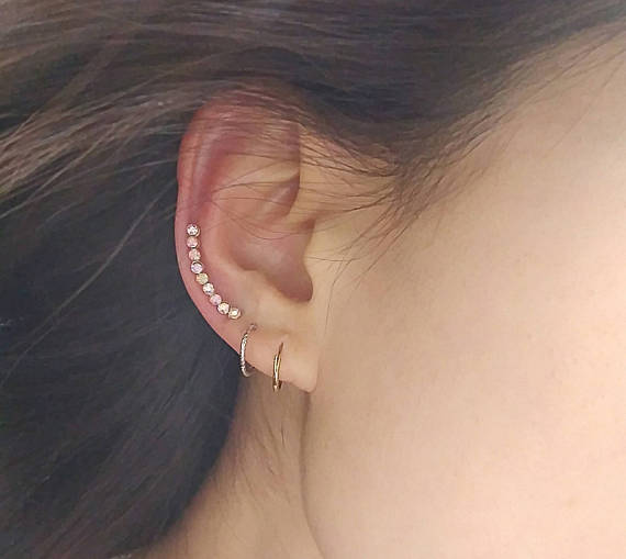Iridescent Pave Curved Ear Climber