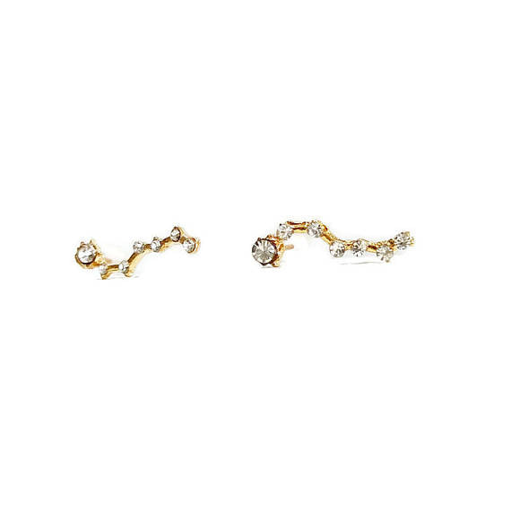 Gold Big Dipper Crystal Constellation Ear Climber Studs