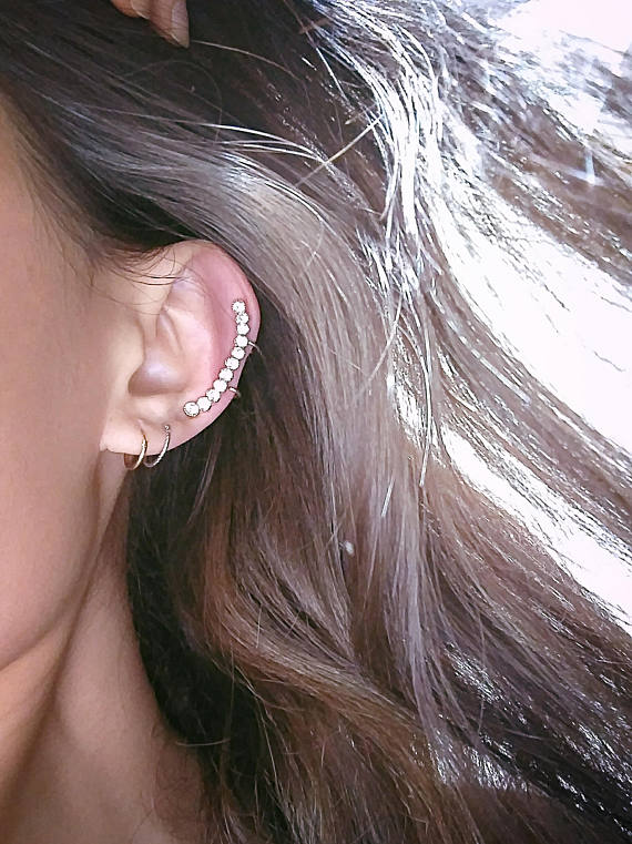 14 K Gold CZ Non Pierced Cartilage Ear Cuff Ear Topper