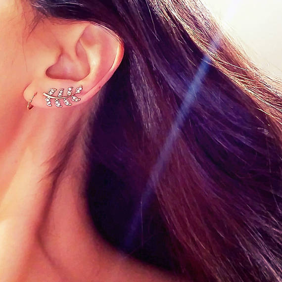 14 K Gold Dipped Crystal Leaf Ear Climber