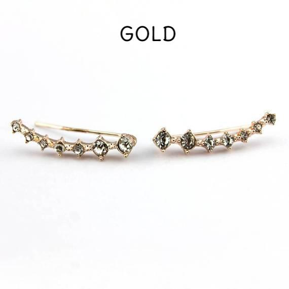 14K gold pave crystal ear climber, nesting stone ear climber, crystal accented ear climber in gold, gold pave shiny ear climber earrings, crystal ear crawlers, pierced ear climber earrings cartilage, cartilage ear climbers,