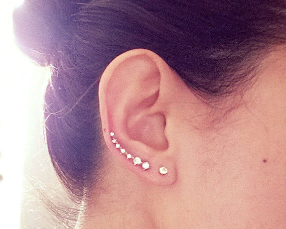 fake piercing earrings, nesting stone ear climber, rhinestone ear climber, seven stone ear climber, 7 stone ear climber earrings, ear crawlers with cz, silver ear climbers with studs, crystal silver ear climber crawlers,