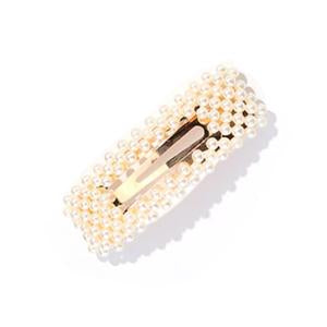 Over-sized Rectangle Faux Pearl Hair Clip in Gold