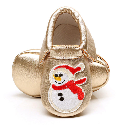 Christmas Moccasin Baby Shoes