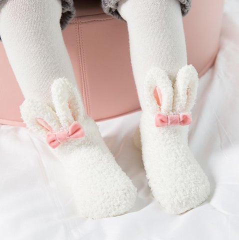 Bubba Winter Coral Fleece Kawai Rabbit Baby Socks