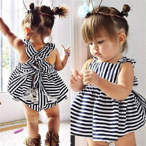 Bubba Infant Stripe Baby Dress + Pants Suit