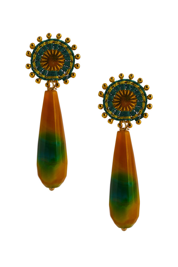 Artisun Green Sunburst Earrings