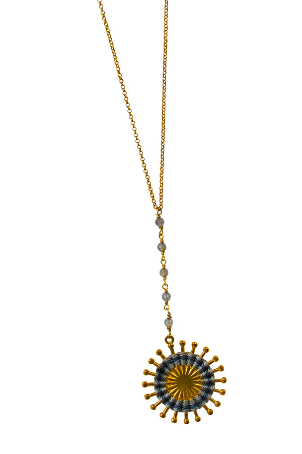 Artisun Long Grey Sunburst Necklace