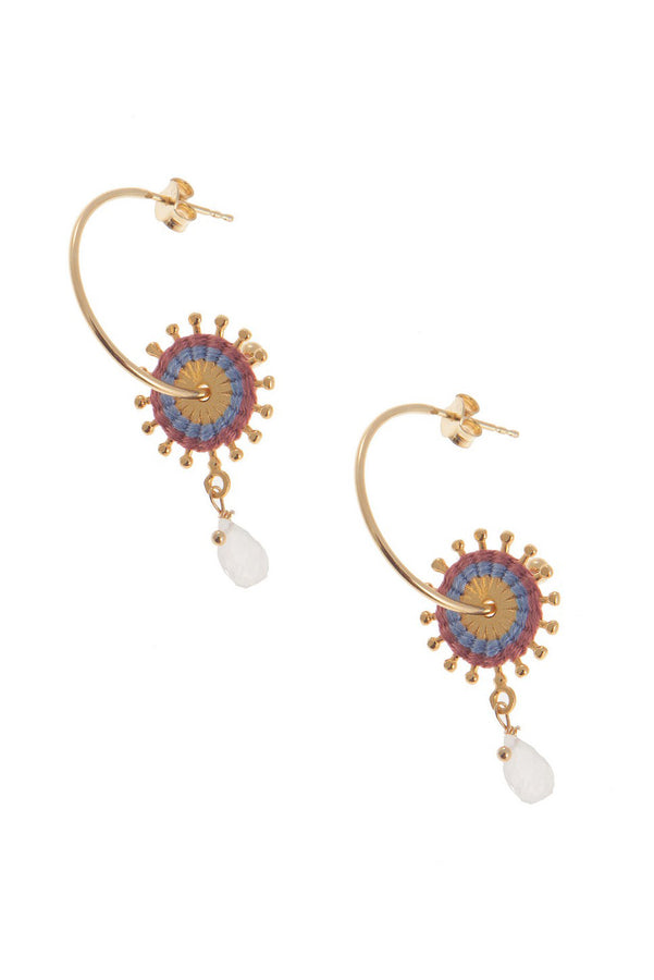 Artisun Moonstone Sunburst Hoops