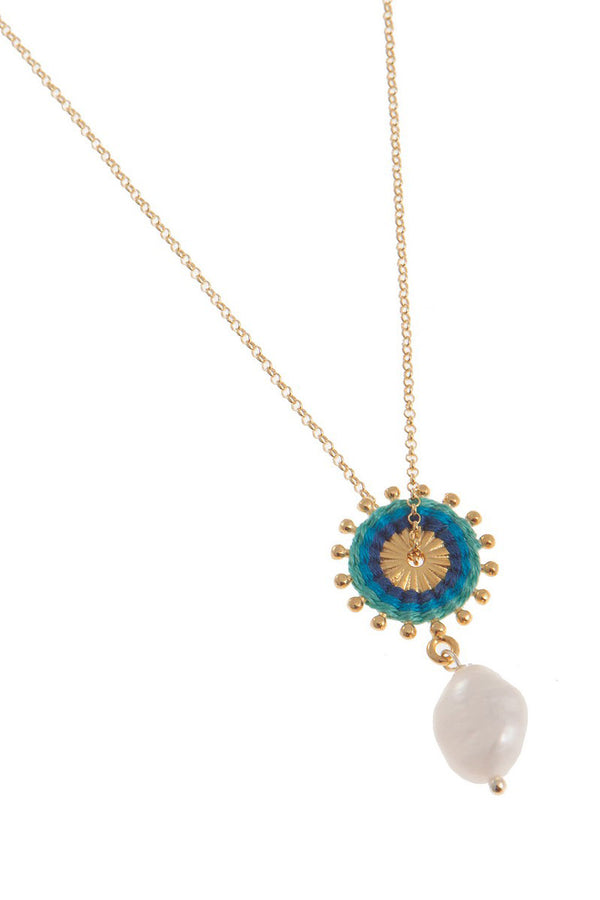 Artisun Pearl Aqua Sunburst Necklace