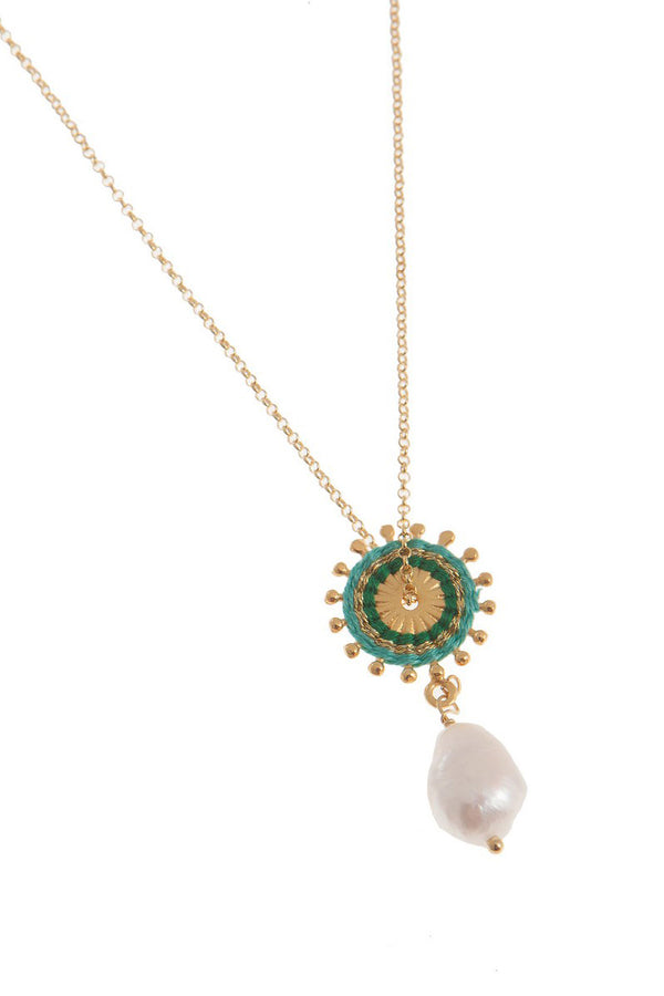 Artisun Pearl Green Sunburst Necklace