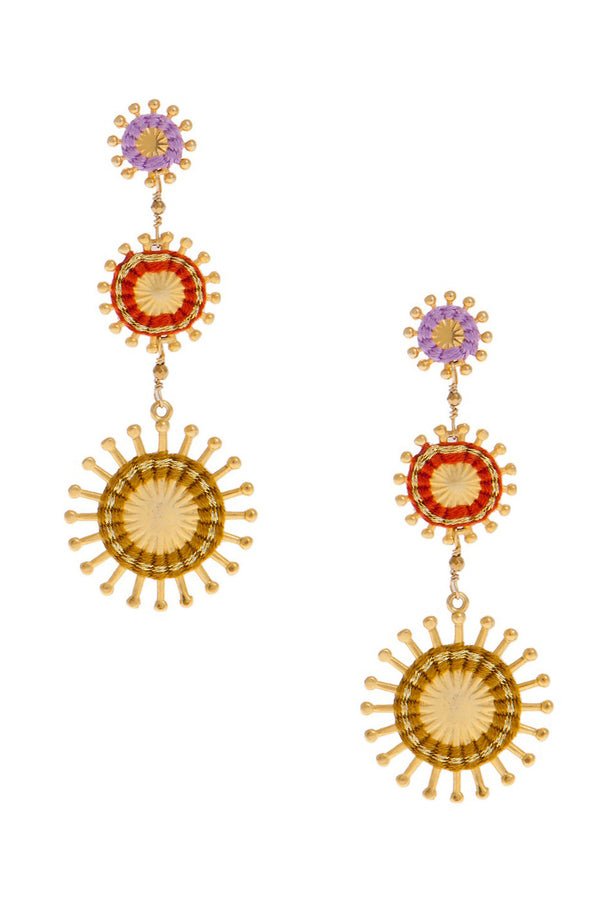 Artisun Triple Mustard Sunburst Earrings