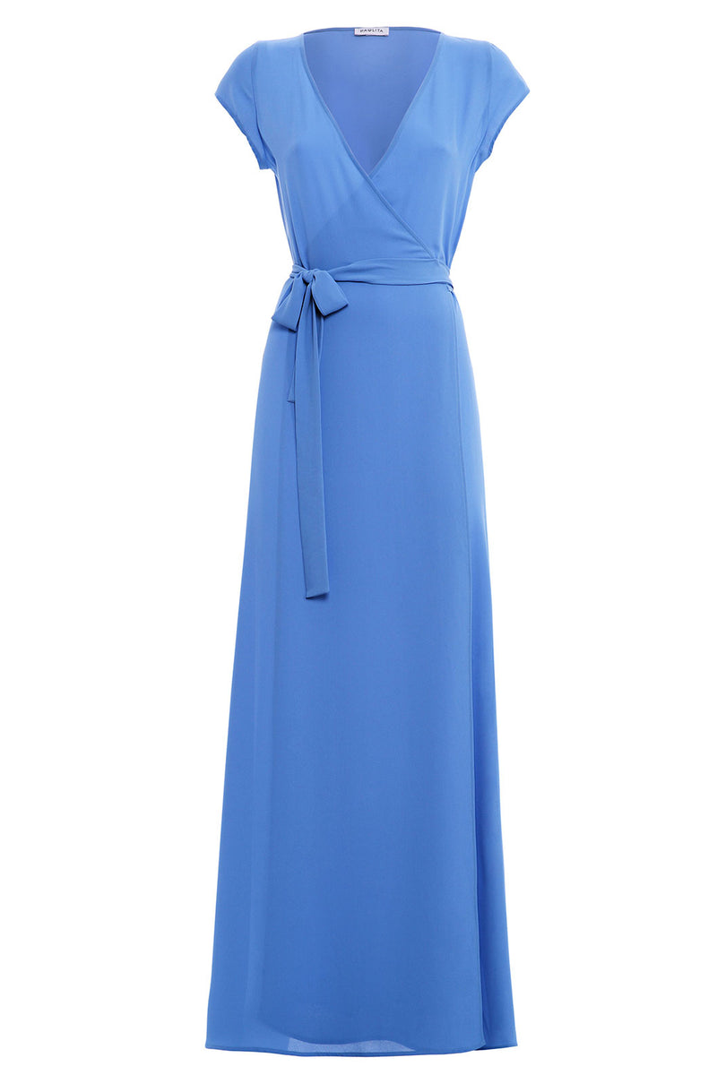 Bahari Blue Maxi Wrap Dress