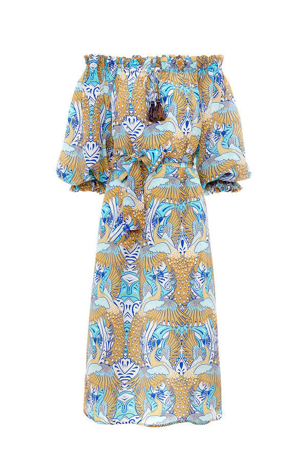 Phoenix Silk Off Shoudler Dress