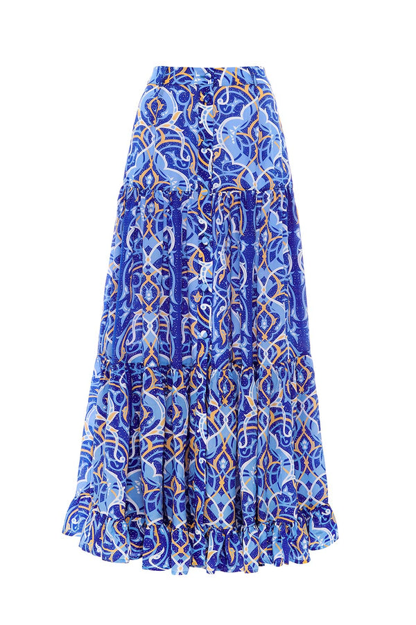 Arabian Nights Button Maxi Skirt