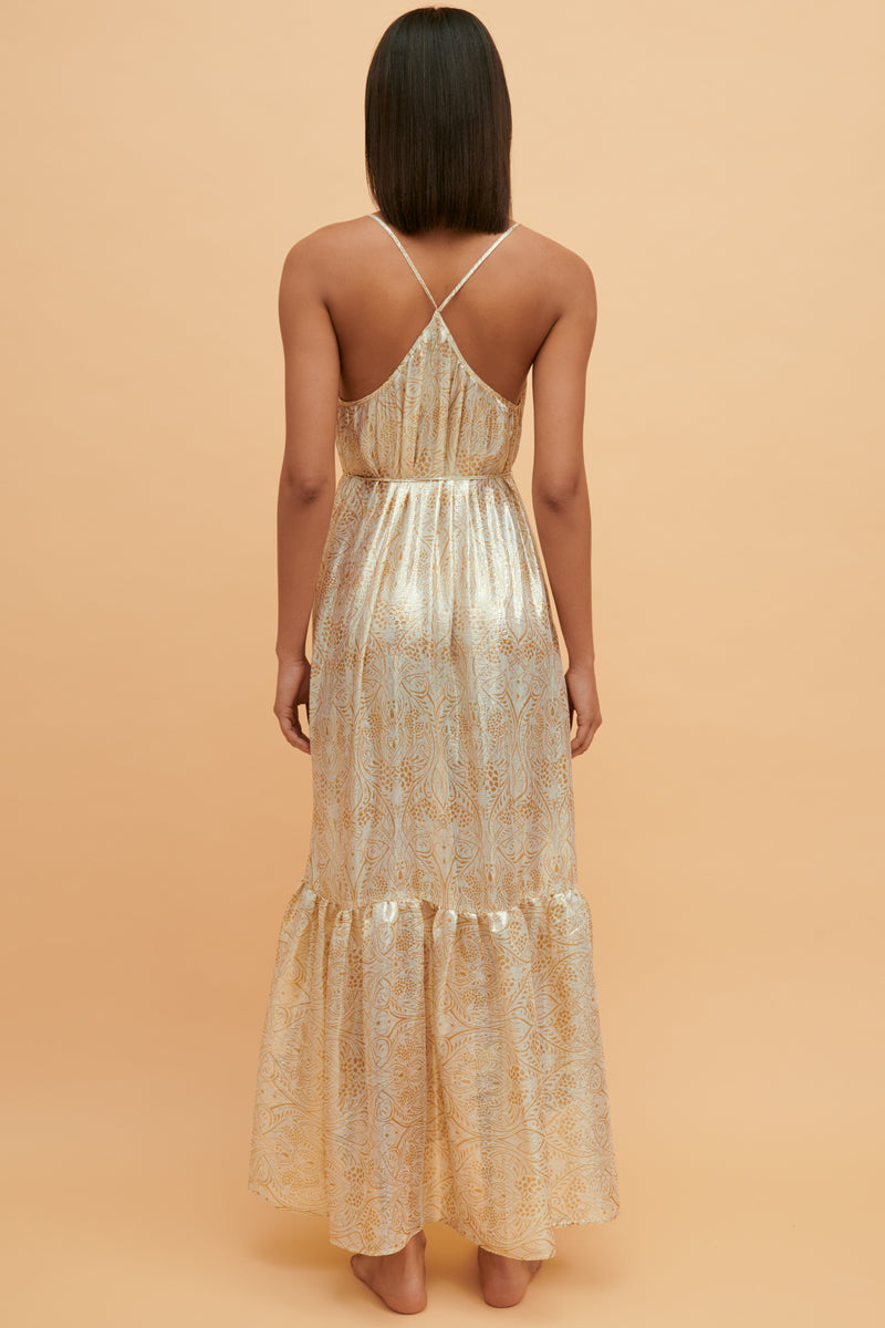 Dorado Silk Ruffle Maxi Dress