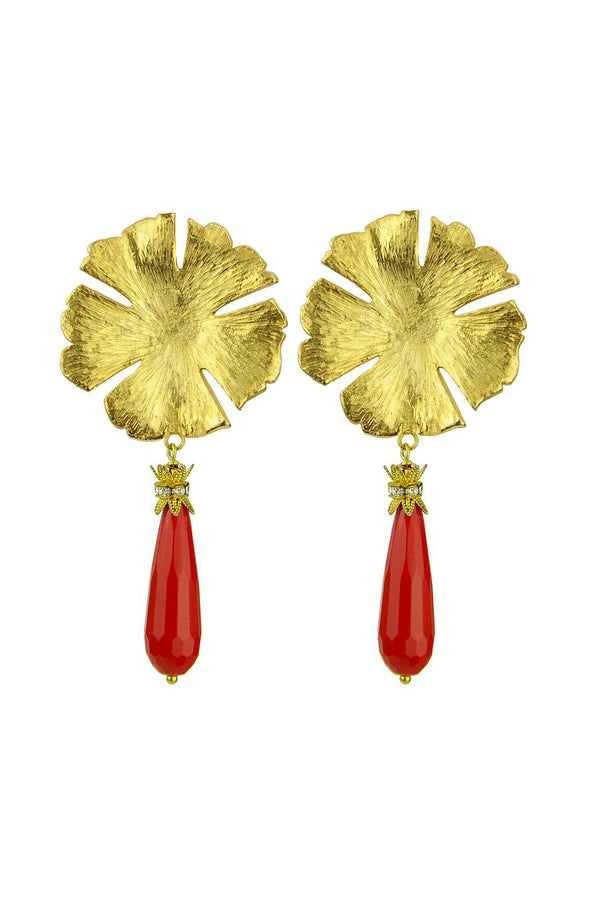 Katerina Psoma Coral Paste Drop Earrings