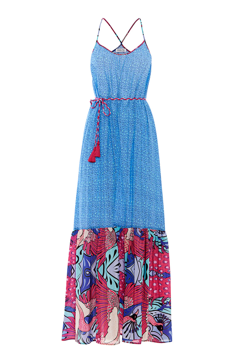 Pavo Real Silk Ruffle Maxi Dress