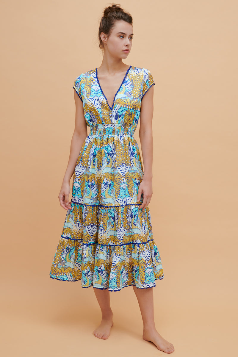 Phoenix Ruffle Midi Dress