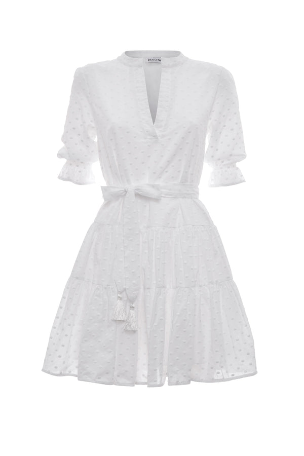White Cotton Ruffle Dress