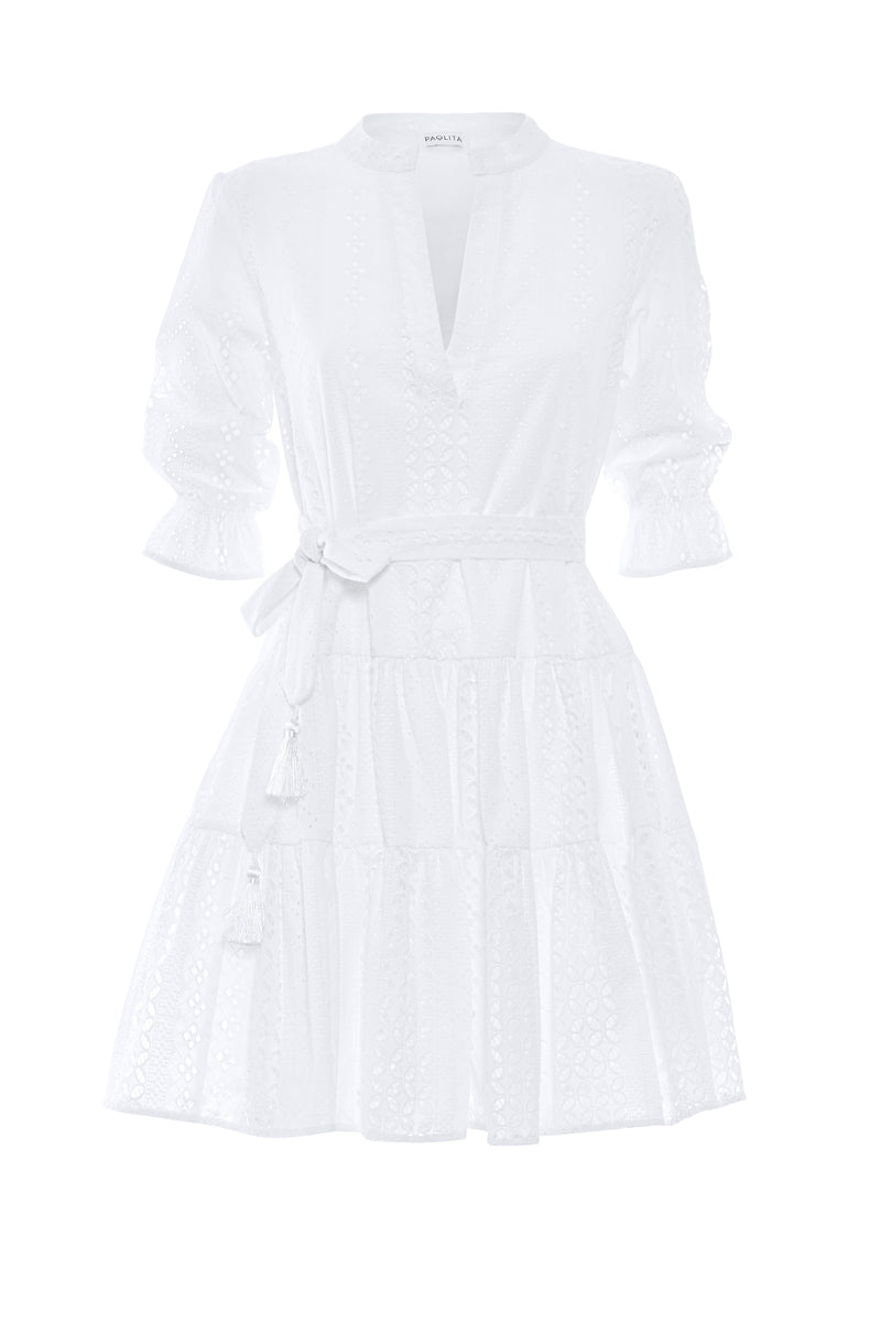 White Long Sleeve Ruffle Dress