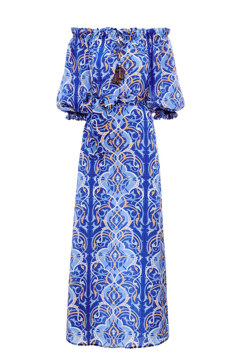 Arabian Nights Silk Off Shoudler Dress