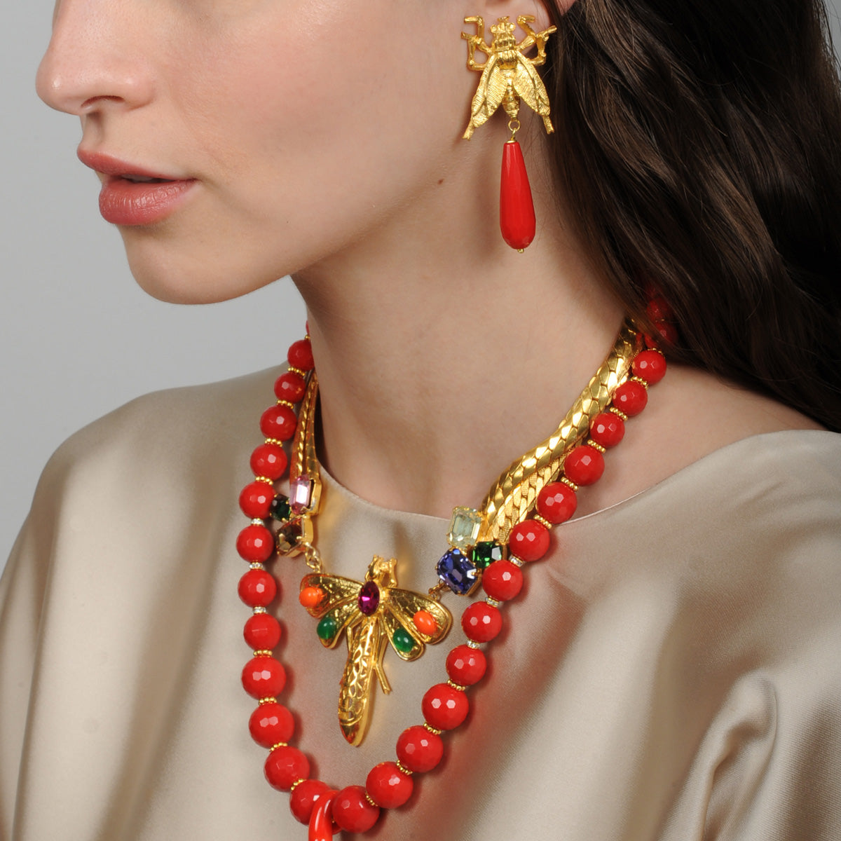 Katerina Psoma Dragonfly Coral Drop Earrings