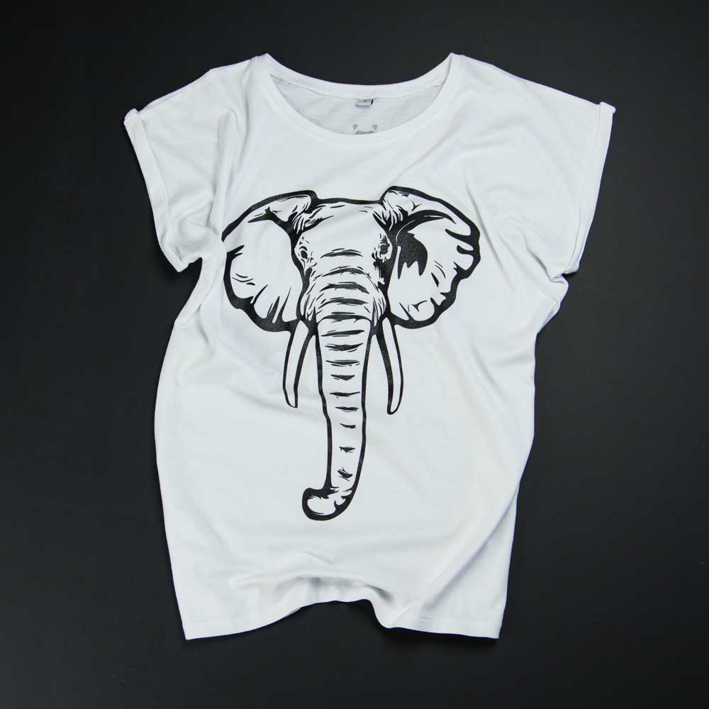 Elefant - w - weisses Shirt