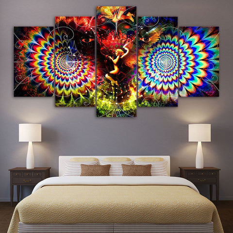 HD Print 5 Piece Canvas Art Girl In Psychedelic Space Canvas Wall Art