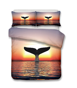 3D Bedding Set Whale Print Duvet cover set with pillowcase