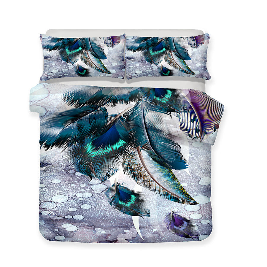 3D Bedding Set Feather Print Duvet cover set with pillowcase
