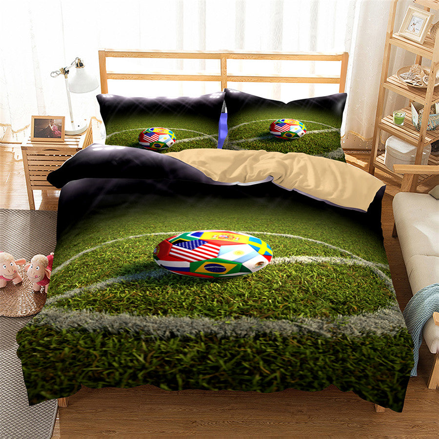 3D Bedding Set World Cup Football Print Duvet cover set lifelike with pillowcase bed set