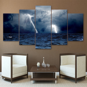 HD Printed 5 Piece Canvas Art Lightning storm Wall Art