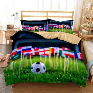 3D Bedding Set World Cup Football Print Duvet cover set lifelike with pillowcase