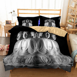 3D Bedding Set Buddha Print Duvet cover set lifelike with pillowcase bed set
