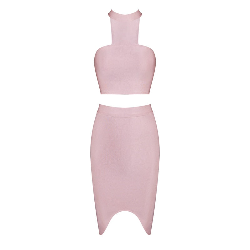 2 Piece Bandage Crop Top and Knee-Length Skirt