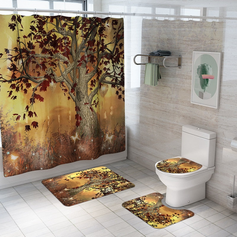 Shower Curtain and Carpet Set