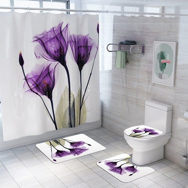 Shower Curtain plus Mats Washable Bathroom Set
