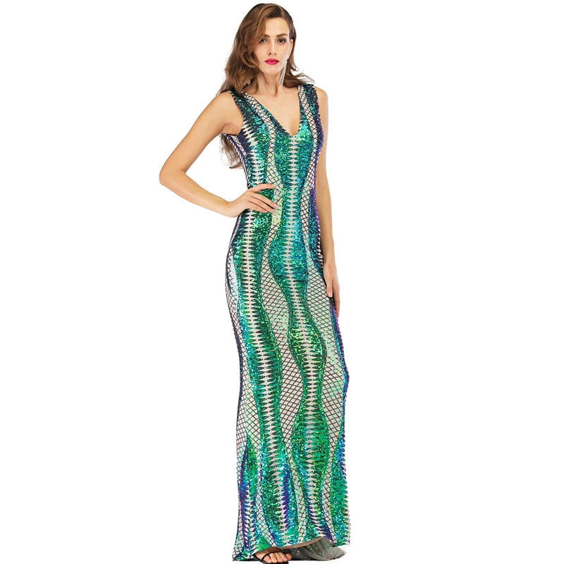 Sequinned long elegant vintage body-con maxi dress