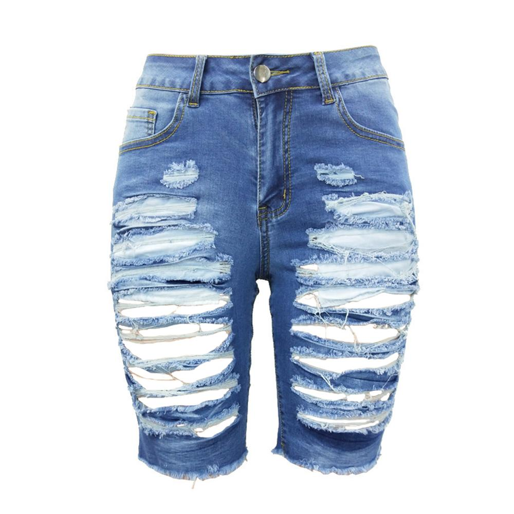 Mid Rise Stretchy Knee Length Bermuda Jean Shorts