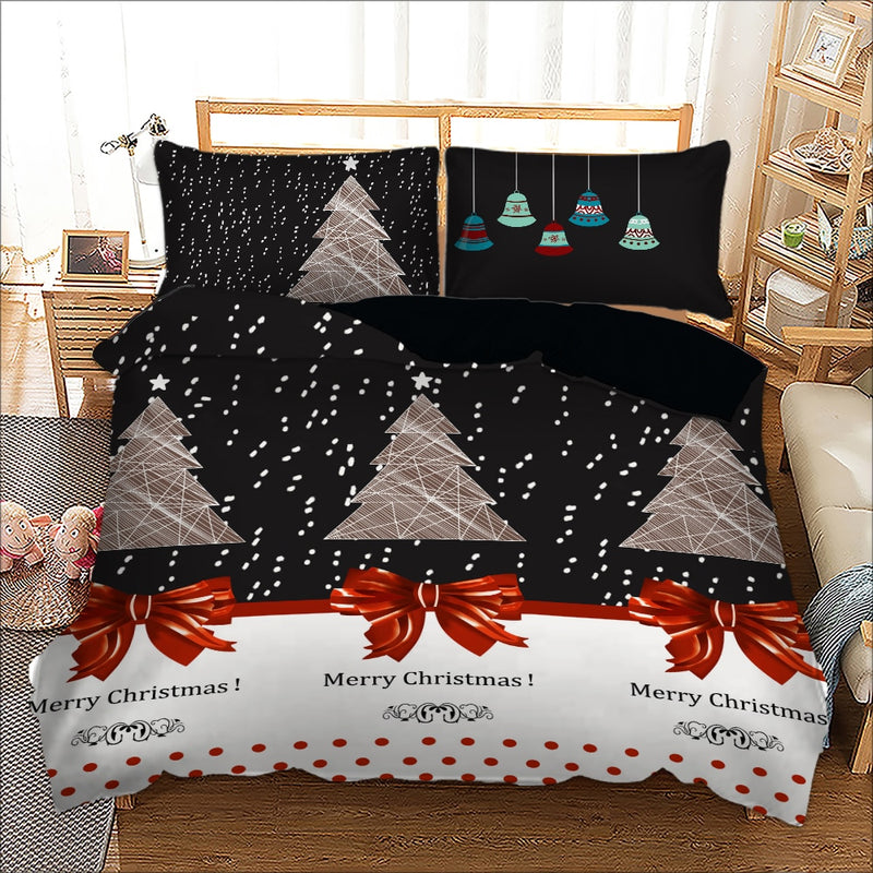 Christmas Tree Duvet Cover With Pillowcase 3pcs bedding Set