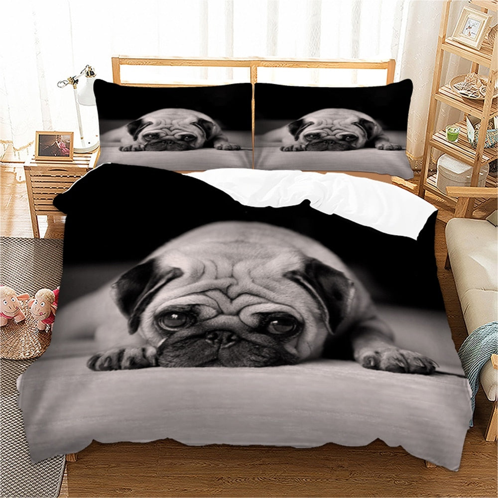 Pug Print Duvet Cover Set