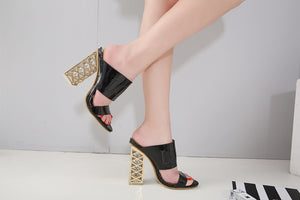Summer Thick Crystal Heel Sandals